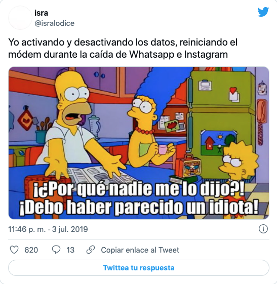 meme caida de whatsapp, facebook e instagram